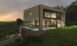 family-house-3d-model-twilight