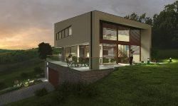 family-house-3d-model-twilight